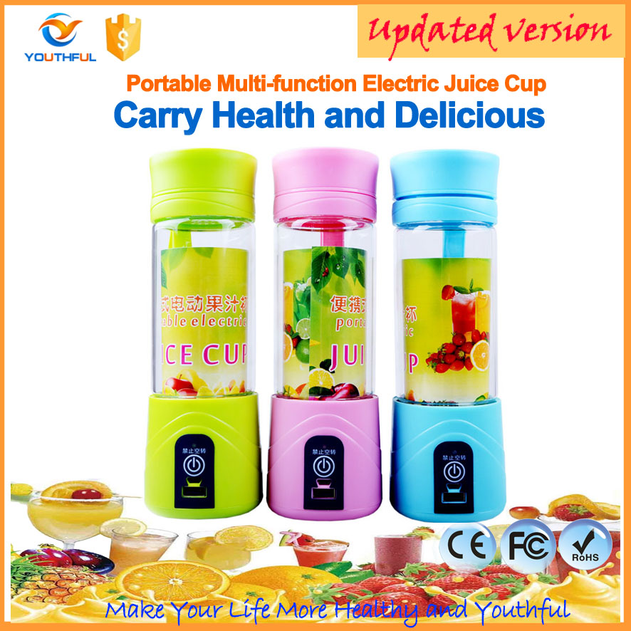 Made in shenzhen ABS+PC portable professional rechargeable hand blender battery operated juicer bottles cup