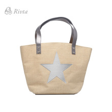 Vintage Sliver Star Ebroidered Woven Jute Hang Bag Tote Bag Beach Bag With PU Leather Handle