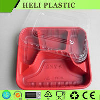 Cheap Plastic Disposable 4 compartments fast food tray with red bottom on sale