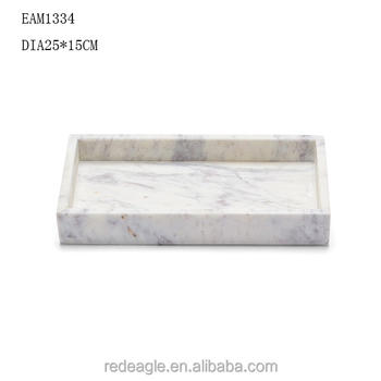 Luxury Square Hotel White Marble Candle Tray Candle Serving Tray
