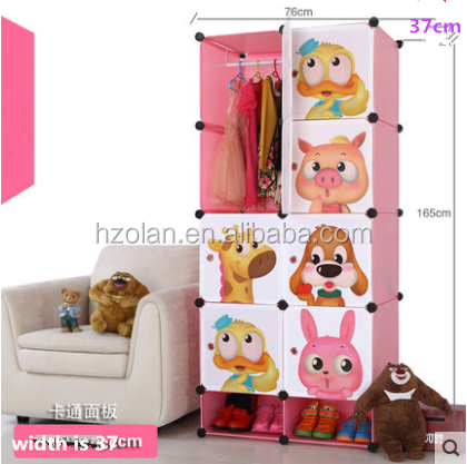 Beautiful colourful wardrobes for children bedrooms/pink 5 tier wardrobe 165*37*76cm