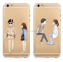 Soft TPU Clear Cartoon Cover Case for iPhone 6,Descendants of the Sun Case for iPhone 6\6s plus