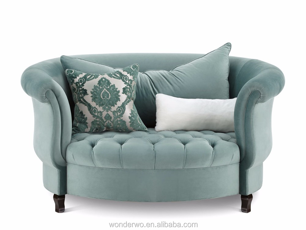 Curved Feet Button Tufted Plush Velvet Upholstery Sage Cuddle Chair Accent  Chair Living Room Furniture