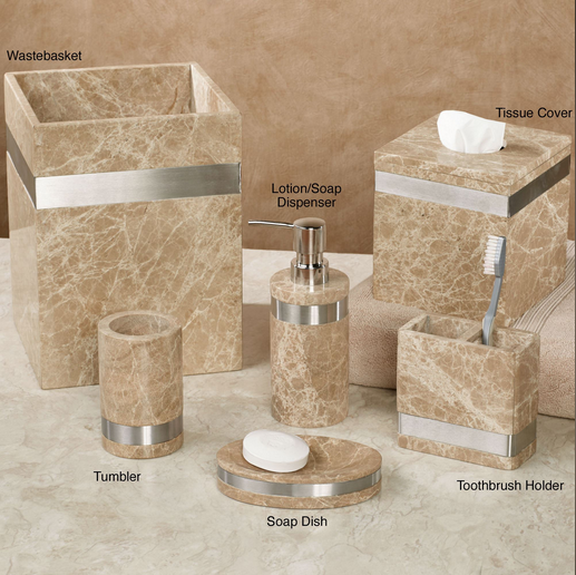 6pcs Elegant Marble Polyresin Bathroom Accessories Sets with waste basket