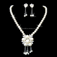 Bridal Jewelry Set Pearl Necklace Earrings Bling Wedding Bridesmaid Gift