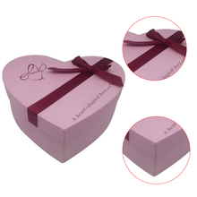 Different style packaging box heart shape paper box with ribbon tie