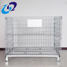 Collapsible wire mesh metal foldable cage pallets with wooden pallets