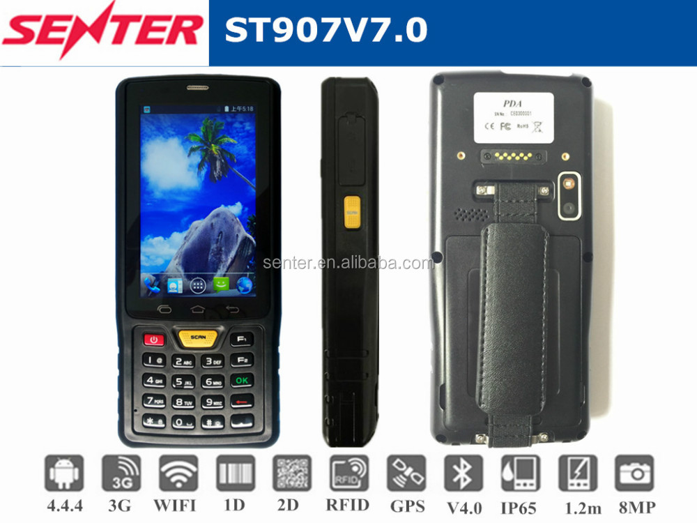 Handheld 1D/2D barcode reader 4.0 inch 3G Android handheld 4m UHF rfid pda with Pistol