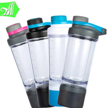 Must Have For The Gym 600 ml two layers plastic shaker bottle, sport water bottle
