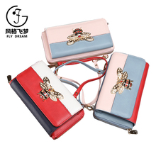 Nice small bee hardware pattern women long strip PU leather lady shoulder bag