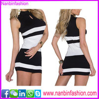 Hot selling white and black short skirt sleeveless sexy lady dress