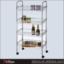 Kitchen metal household wire shelving trolley