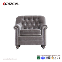 Floor seat single silver velvet fabric sofa chair high back living room recliner chair with nailhead