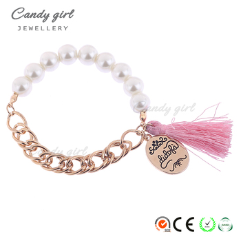 Candygirl brand hand made latest design accessories custom pearl tassel seed bead bracelet jewelry bangle bracelet