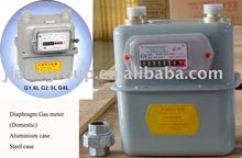 Domestic displacement diaphragm gas meter