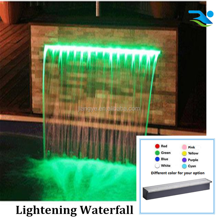 Pond artificial spillway waterfall with LED strip