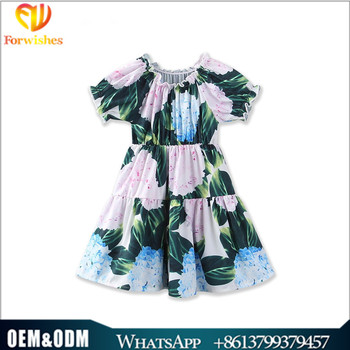 Children age group and oem supply type smocked floral princess dress ruffled toddler girl children frocks design