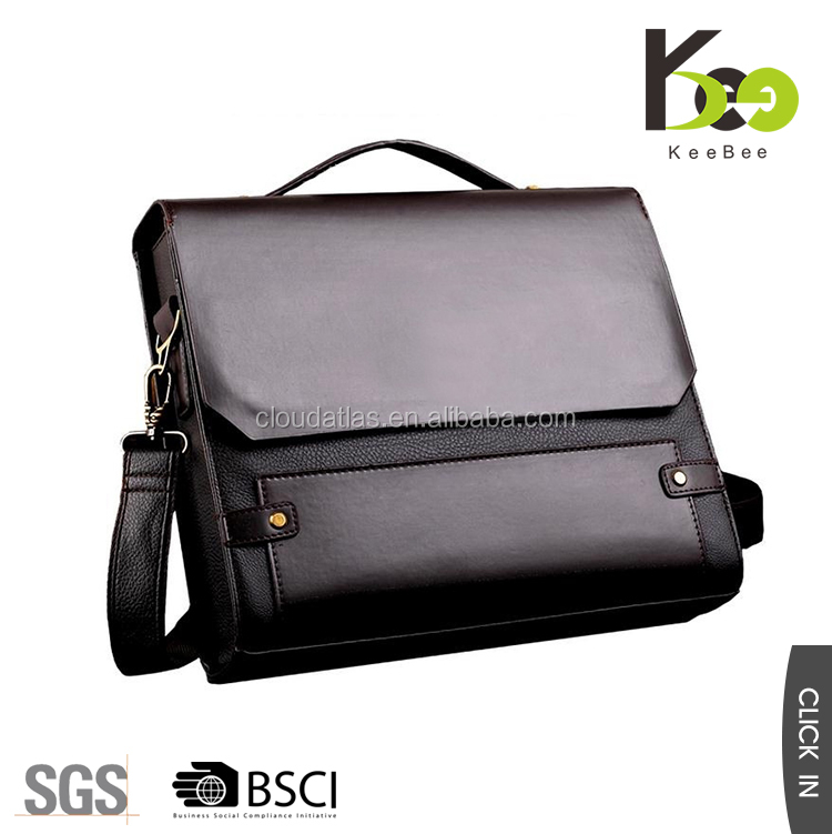 Fashionable cheap wholesale briefcase cross body pu leather men messenger bags