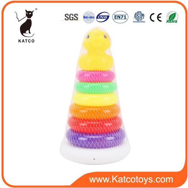 Interesting Baby Rainbow Circle Stacking Toy Educational Game With Animal Head