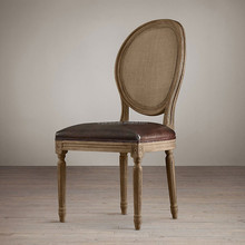 High Back French Bistro Style Antique Oak Wooden Oval Rattan Back Louis Dining Chairs