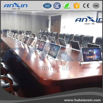 2017 new design ANXIN 18.4inch retractable lcd lift /AV conference system RS485/RS232 crestron control