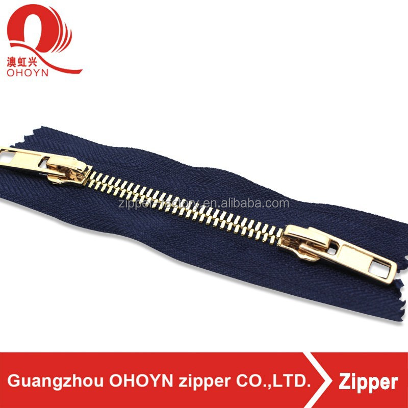 wholesale fancy custom jean pulls auto lock slider bag brass long chain rose gold metal double slider two sided zipper