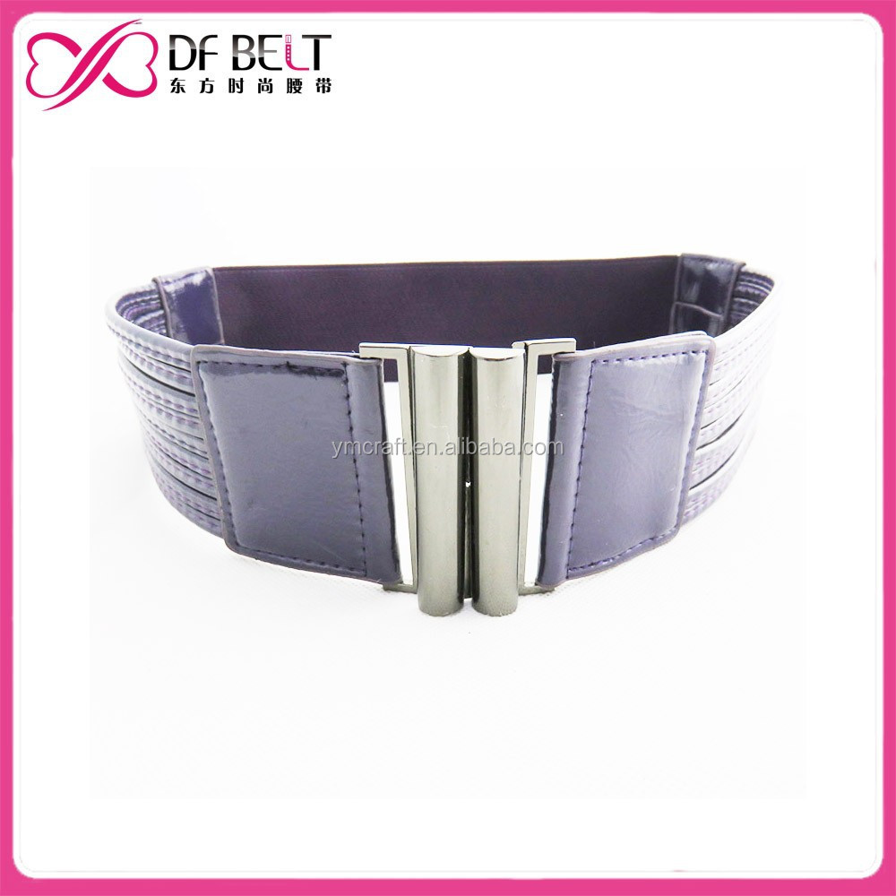 Hot sell fashion purple pu leather stretch belt for girl dress
