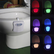 2018 Body Sensing Automatic LED Motion Sensor Toilet Bathroom Night Lamp Bowl Lights