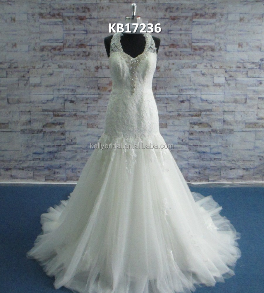 New shape with halter belt at neckline satin fabric with embroidery good looking wedding dress