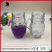 2016 Refillable Owl Animal-Shaped Wide Mouth Mug Glass Mason Jar With Handles