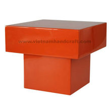 Eco-friendly handpainted vietnamese lacquer bamboo stool in solid orange