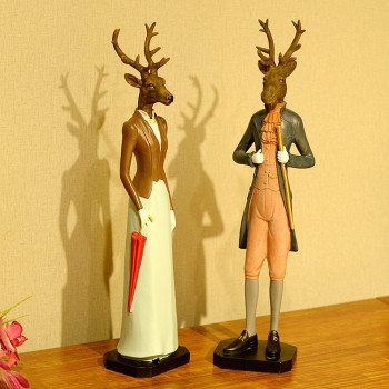 YIBEI Handmade Animal Ornaments Resin Deers Figurines