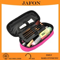 Big capacity multi-function makeup brush case pink zipper polyester case