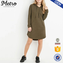 Custom Lady Cotton Blend Long Sleeve Autumn Hooded Sweatshirt Dress