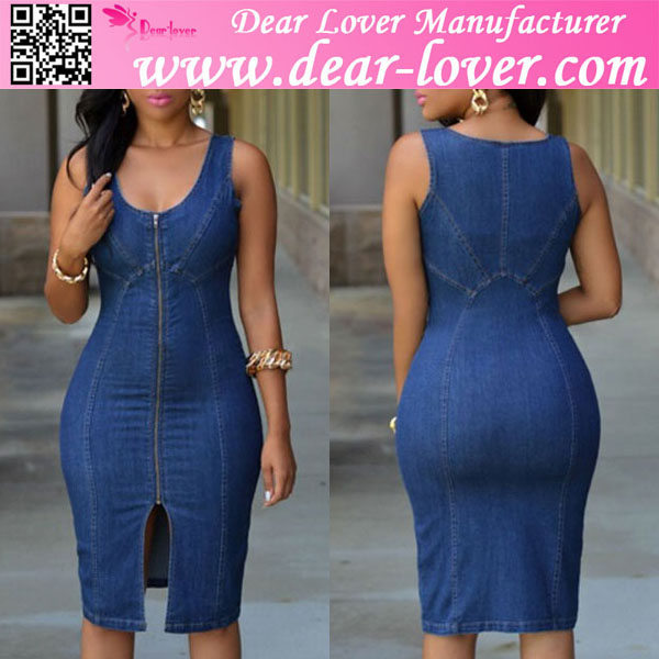 2015 Faddish Denim Gold Zipper Front Midi bandage Dress korean fashion online shop
