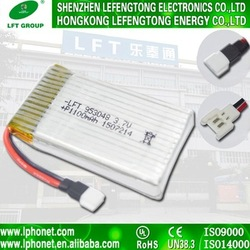 High discharge rate 953048 rechargeable li-polymer 1100mah 3.7v rc battery