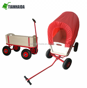 Children Kids Toys Cart Wagon Stroller Outdoor Garden Tools W/ Wood Railing 4 wheels Red canopy