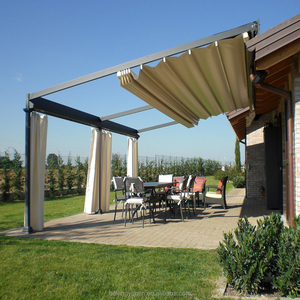 Outdoor metal pergola retractable roof awning