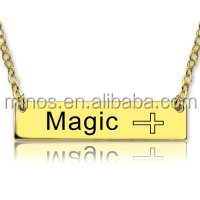 high quality metal jewelry 18K Gold Plated Bar Necklace with Icons cross necklace