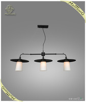 Classic style 3 heads pendant light black light with white shade pendant lamp E27 pendant light