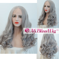 "Wholesale Cheap 18"" Heat Resistant Fiber Hair Long Straight Wavy Grey Middle Part Synthetic Lace Front Wig for White Women"