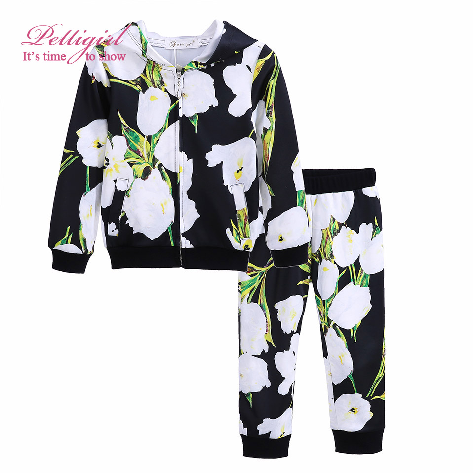 Newest Girls Clothing Set Casual Baby Girls Winter Outfit Flower Printing Coat And Pant Baby Girls Clothing G-DMCS908-839
