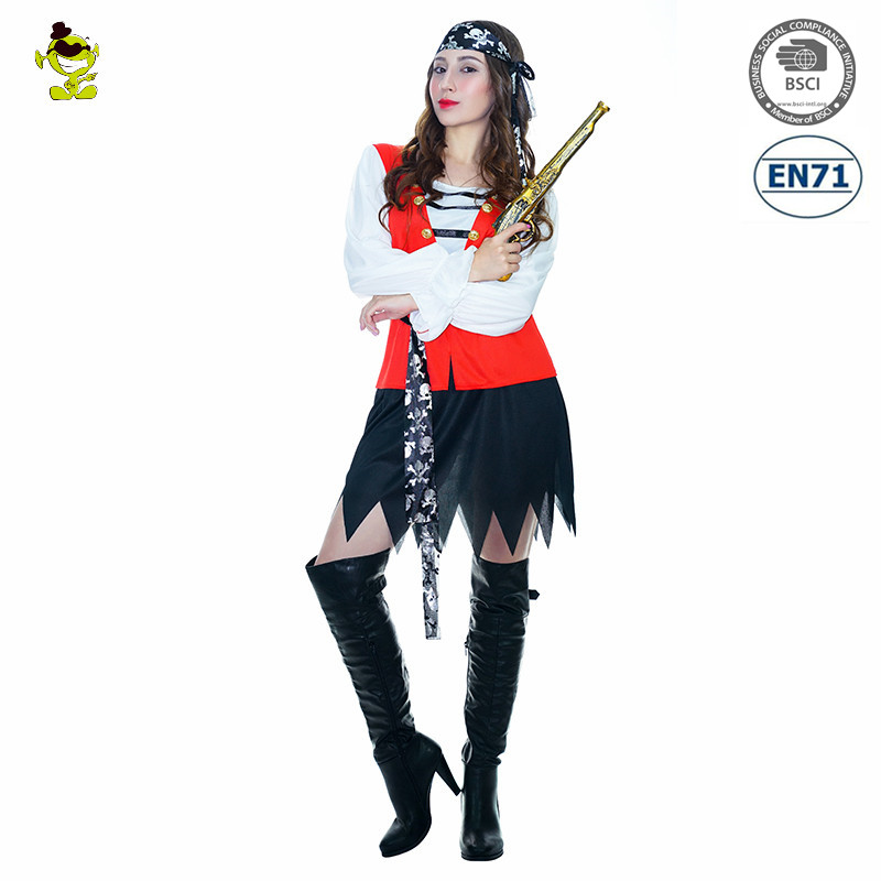 Womens Pirate Costume Sexy Ladies Pirates of the Caribbean Halloween Fancy Dress