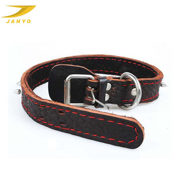 Handmade top quality rivet cowhide material leather dog collar