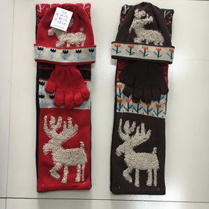 Customized Christmas animal deer kids children winter scarf and hat with gloves