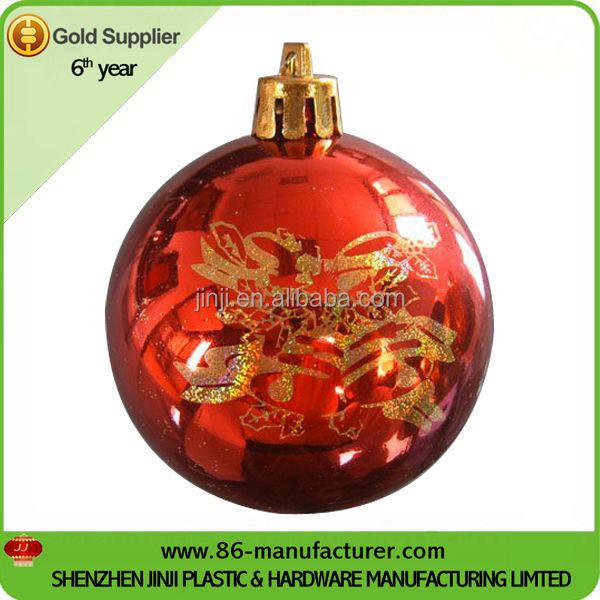 Large plastic printed decorating christmas tree hanging ball