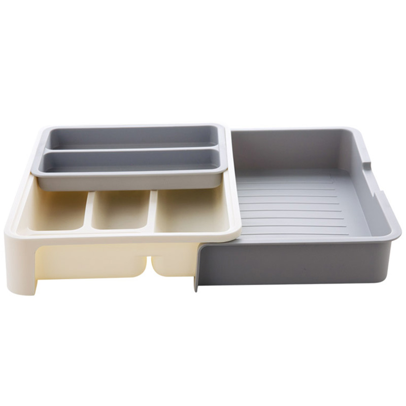 7 Compartment Colorful Kitchen tableware Utensil Organizer Holder Drawer storage expandable Cutlery Plastic stationery Tray