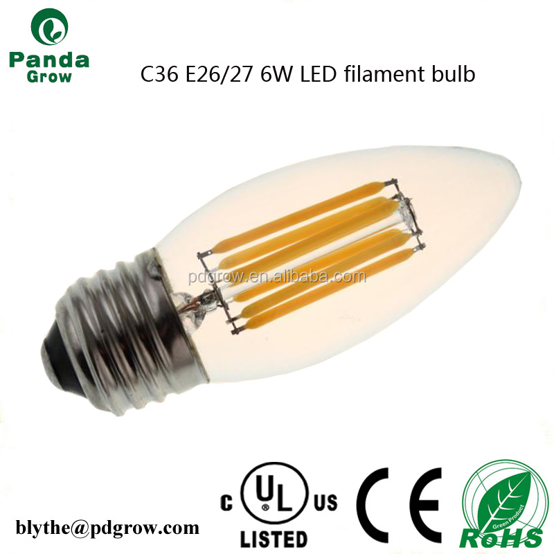 c35 dimmable led filament bulb light