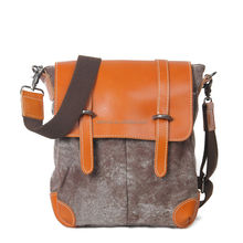 Vintage western style washed canvas shoulder bag with leather trim for boys girls unisex crossbody bag canvas shoulder bag