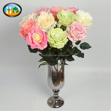 Spring style cheap real touch rose artificial silk flower for wedding decoration